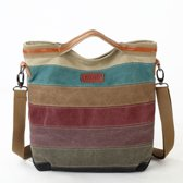 8d60a94f554 MISS LULU WOMEN SHOULDER BAG NAPPA PATCH RAINBOW CANVAS STRIPE (E1679)