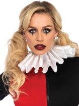 Harlequin satijnen geplooide kraag verkleed accessoire wit - Kostuum Party - Leg Avenue