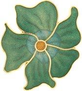 Behave®  Broche bloem groen - emaille sierspeld -  sjaalspeld