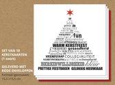 Set van 10 luxe kerstkaarten Typografisch