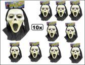 10x Halloween Vynil masker scream + doek kids