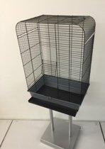 vogelkooi + standaard Grijs/Zwart - 54 x 34 x 75cm