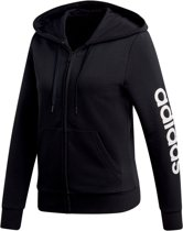adidas W Essentials Linear Fz Hoody Dames Vest - Black/White - Maat M