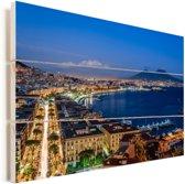 Blauwe lucht boven de zee en boven het Italiaanse Napels Vurenhout met planken 120x80 cm - Foto print op Hout (Wanddecoratie)