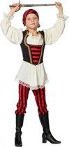 Piraten kostuum rood/zwart voor meisjes 104