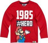 Super Mario Bros T-shirt-met-lange-mouw-rood - Maat 134