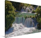 Woeste watervallen in de rivieren in het Nationaal park Krka in Kroatië Canvas 180x120 cm - Foto print op Canvas schilderij (Wanddecoratie woonkamer / slaapkamer) XXL / Groot formaat!
