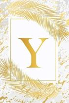 Y: Pretty Gold & Ivory White Marble Initial Monogram Letter Y and Feathers, Personalized 150 Blank Lined Journal & Notebo