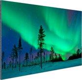 Noorderlicht boven Zweden Aluminium 60x40 cm - Foto print op Aluminium (metaal wanddecoratie)
