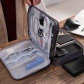 3-laags Elektronica Kabel Organizer Tas voor Muis, Oordopjes & andere accessoires - Kabel opbergtas voor onderweg Grijs