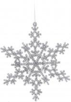 Sneeuwvlok decoratie zilver 14,5 cm type 2 - zilveren kersthanger