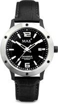 Max Grandeur 5 MAX766 Horloge - Leren band - Ø 42 mm - Zwart / Zilverkleurig
