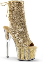 EU 40 = US 10 | ADORE-1018G | 7 Heel, 2 3/4 PF Glitter Ankle Boot, Side Zip