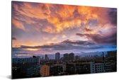 Kleurrijke wolken boven de Chinese stad Changchun Aluminium 90x60 cm - Foto print op Aluminium (metaal wanddecoratie)