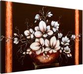 Schilderij handgeschilderd Magnolia   Bruin , Oranje , Wit   120x70cm 1Luik