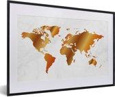 Foto in lijst - Een wereldkaart met een gouden overloop fotolijst zwart met witte passe-partout 60x40 cm - Poster in lijst (Wanddecoratie woonkamer / slaapkamer)