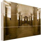 Binnenkant in het Pantheon van Parijs Vurenhout met planken 60x40 cm - Foto print op Hout (Wanddecoratie)