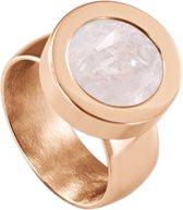 Quiges RVS Schroefsysteem Ring Rosékleurig Glans 20mm met Verwisselbare Kwarts Roze 12mm Mini Munt