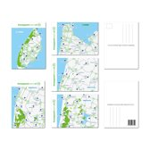 Set van 5 ansichtkaarten met de fietsknooppunten uit de regio. Texel -  Kust Noord-Holland - noord