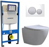 Geberit UP 320 Toiletsets – Inbouw WC Hangtoilet Wandcloset – Shorty Flatline Sigma-20 Wit Mat Chroom