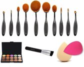 Superuitgebreide Concealer / Foundation Beauty All-In-One Kit - Concealer / Highlighter / Corrector Palette Comestica / Visagie Poederkwast Make Up Kwasten Set - 10x Foundation Kwast / Brush & 2x Make Up Spons (Beautyblender Alternatief)
