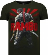 Local Fanatic Rambo Shine - Rhinestone T-shirt - Groen - Maten: S