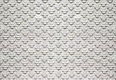 Fotobehang Brick Wall Black White | M - 104cm x 70.5cm | 130g/m2 Vlies