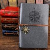 KELERINO. vintage Lederen Notitieboek met windroos  - Grijs