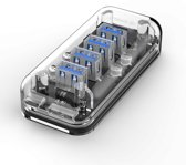 Orico - Transparante USB3.0 Hub met 4 poorten – 5 Gbps – Speciale LED-indicator – Datakabel van 100cm