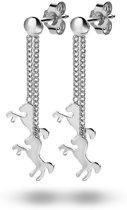 Twice As Nice Oorbellen in zilver, 2 hangende paardjes