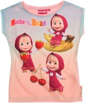 Masha-and-The-Bear-T-shirt-met-korte-mouw-roze - Maat 116