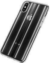 Baseus iPhone XR Patterned Glitter Hard Cover Case Black + Full Closure Glass hoesje