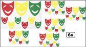 6x Raamsticker maskers rood/geel/groen 35 x 40 cm.
