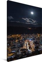 De stad Quito in Ecuador verlicht door een volle maan Canvas 120x180 cm - Foto print op Canvas schilderij (Wanddecoratie woonkamer / slaapkamer) XXL / Groot formaat!