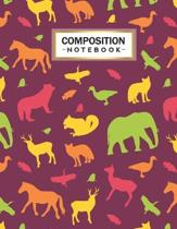Composition Notebook: College Wide Ruled Line Paper for Writing Notes in School and Work with Unique Animals Themed Design