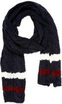 Sjaal - Donker Blauw - Witte en Rode streep - Wol