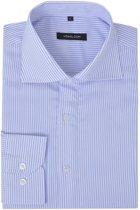 vidaXL Zakelijk overhemd heren wit en lichtblauw gestreept maat XL