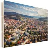 Uitzicht over de Duitse stad Freiburg Vurenhout met planken 80x60 cm - Foto print op Hout (Wanddecoratie)