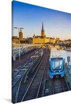 Uitzicht op een spoorweg Canvas 120x180 cm - Foto print op Canvas schilderij (Wanddecoratie woonkamer / slaapkamer) XXL / Groot formaat!