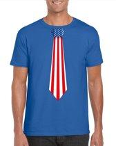 Blauw t-shirt met Amerikaanse vlag stropdas heren - Amerika supporter L