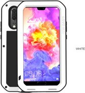 Metalen fullbody hoes voor Huawei P20, Love Mei, metalen extreme protection case, zwart-wit