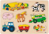 Goki 8-delige houten puzzel boerderij