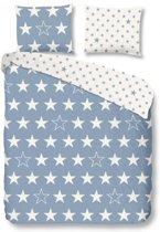 Good Morning 5263-F met sterren - dekbedovertrek - tweepersoons - 200x200/220 cm  - katoen flanel - blauw