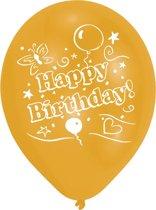 8 Latex Balloons Happy Birthday 2 Sided Print 25.4 cm/10