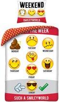 Smiley Days of The Week Dekbedovertrek - Eenpersoons - 140x200 cm - Multi