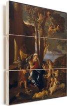 De heilige familie met de heilige Johannes de Doper - Schilderij van Nicolas Poussin Vurenhout met planken 30x40 cm - klein - Foto print op Hout (Wanddecoratie)