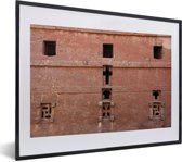 Foto in lijst - Kerkmuur met vensters Lalibela fotolijst zwart met witte passe-partout klein 40x30 cm - Poster in lijst (Wanddecoratie woonkamer / slaapkamer)