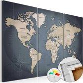 Afbeelding op kurk - Anthracitic World , wereldkaart, 3luik, 3 maten