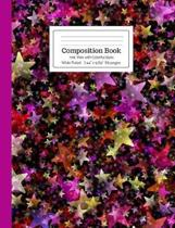Composition Book Hot Pink with Colorful Stars Wide Ruled