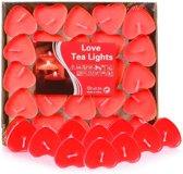 Rode waxinelichtjes - Hartjes waxinelichtjes - Rode hartvormige waxinelichtjes - 50 stuks